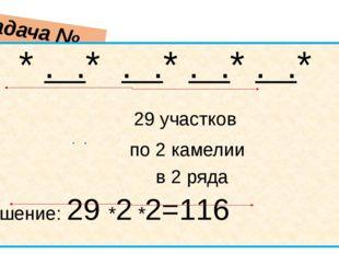 Задача № 190 * . .* . .* . .* . .* 29 участков по 2 камелии в 2 ряда Решение: