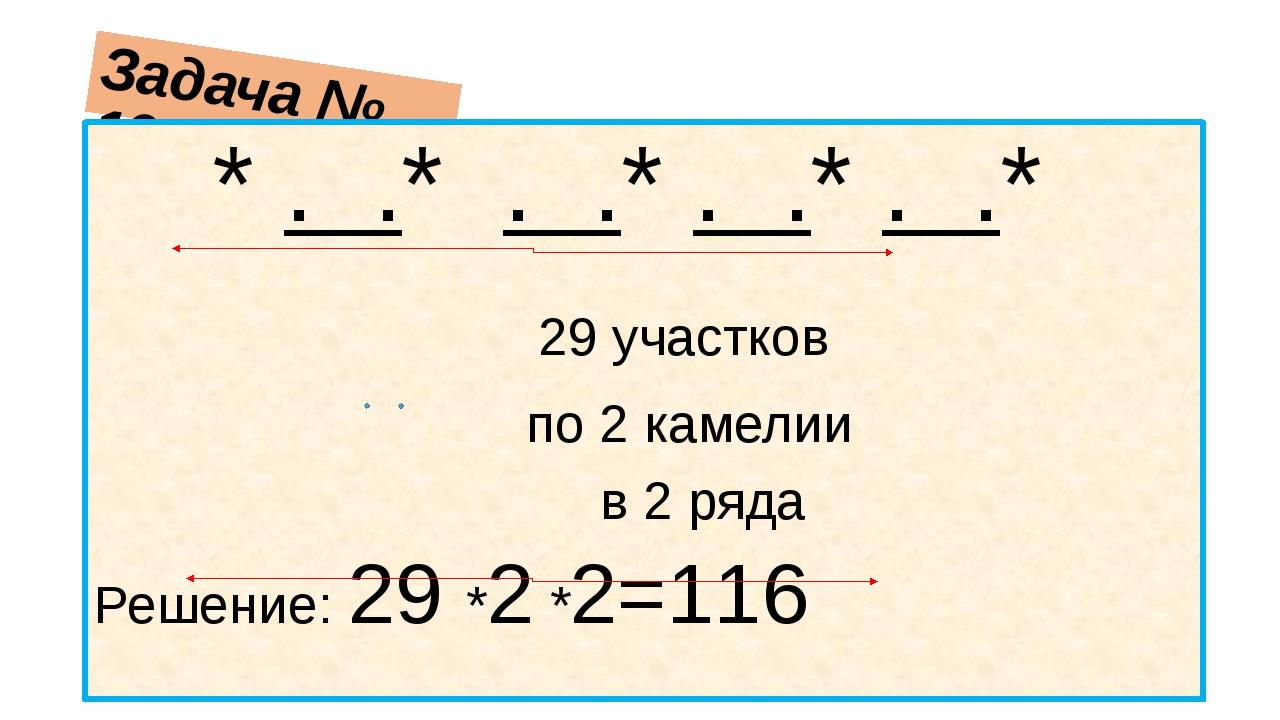 Задача № 190 * . .* . .* . .* . .* 29 участков по 2 камелии в 2 ряда Решение:...