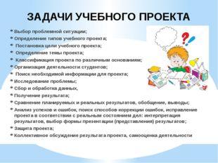 Выбор проблемной ситуации; Определение типов учебного проекта; Постановка цел