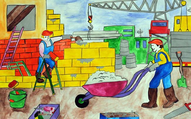 Детские рисунки на тему о строителях