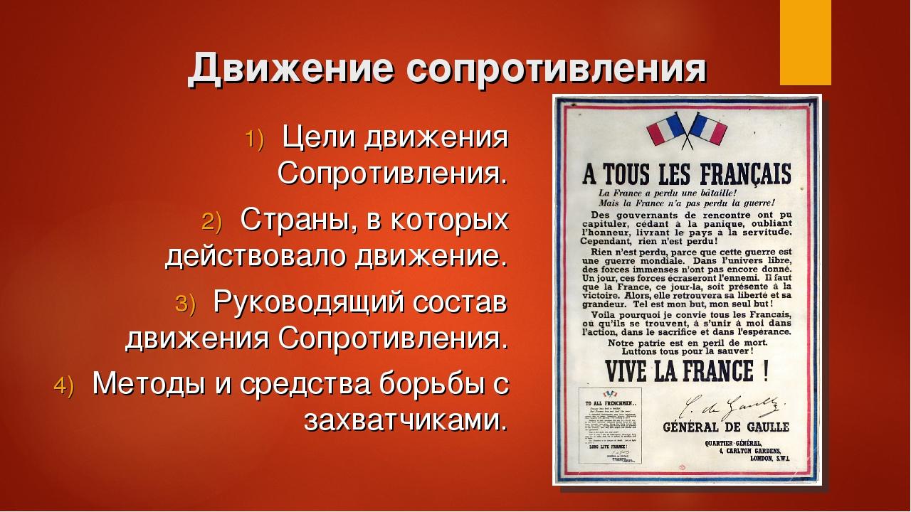 Движение сопротивления Цели движения Сопротивления. Страны, в которых действо...