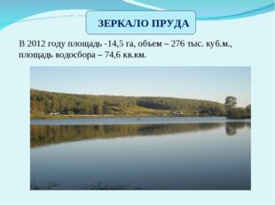 В 2012 году площадь -14,5 га, объем – 276 тыс. куб.м., площадь водосбора – 7