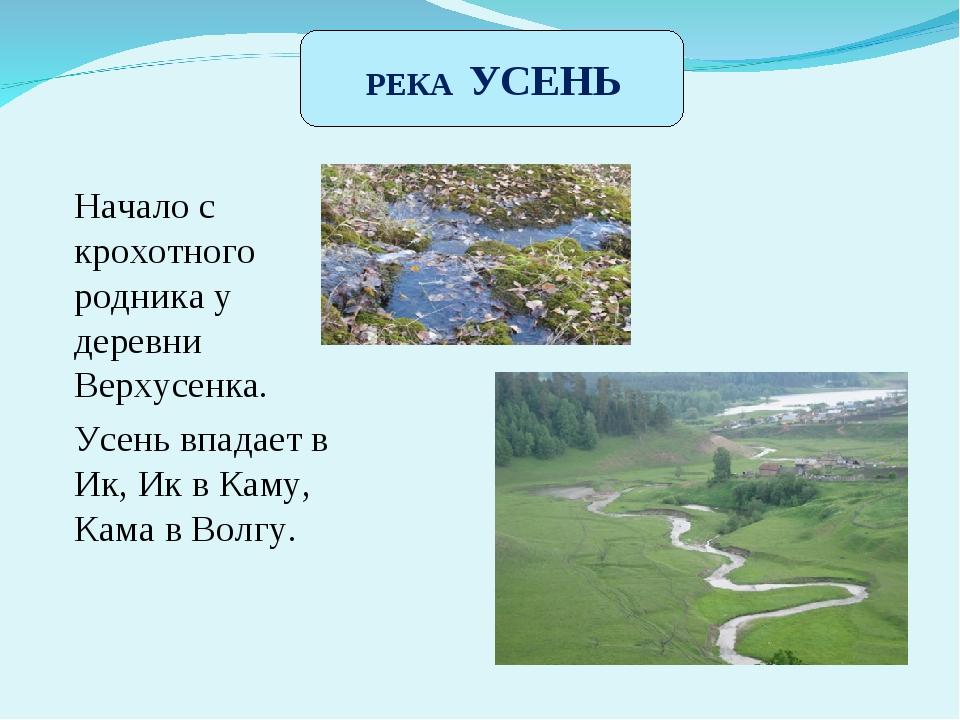 Речка Усень Начало с крохотного родника у деревни Верхусенка. Усень впадает в...