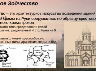 Русское Зодчество Зодчество– это архитектурноеискусствовозведения зданий и