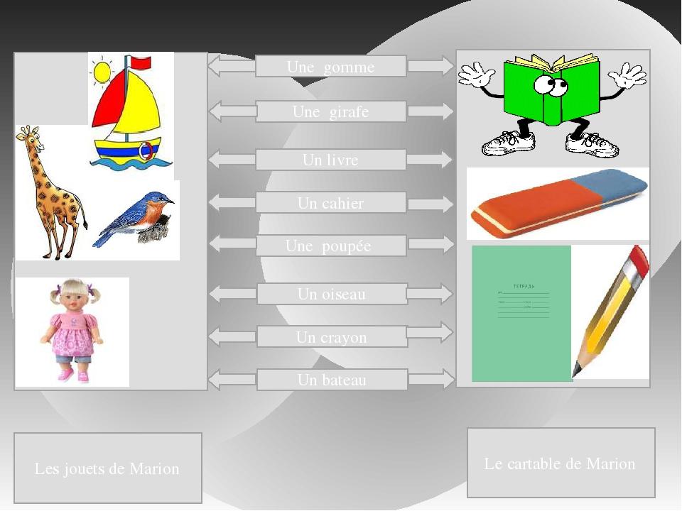 Une gomme Une girafe Un livre Un cahier Une poupée Un oiseau Un crayon Un ba...