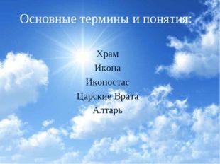 Основные термины и понятия: Храм Икона Иконостас Царские Врата Алтарь
