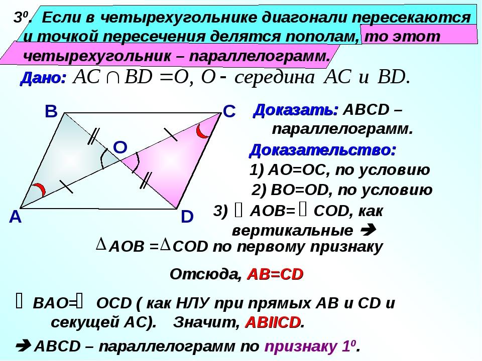 30. Если в четырехугольнике диагонали пересекаются и точкой пересечения деля...