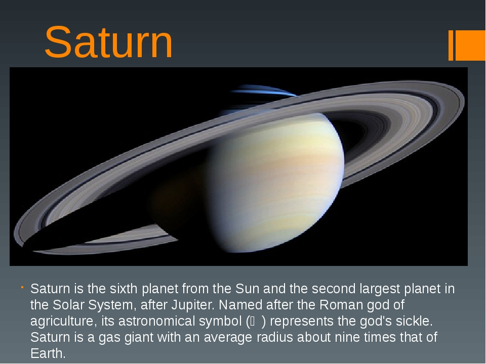 Saturn Saturn is the sixth planet from the Sun and the second largest planet...