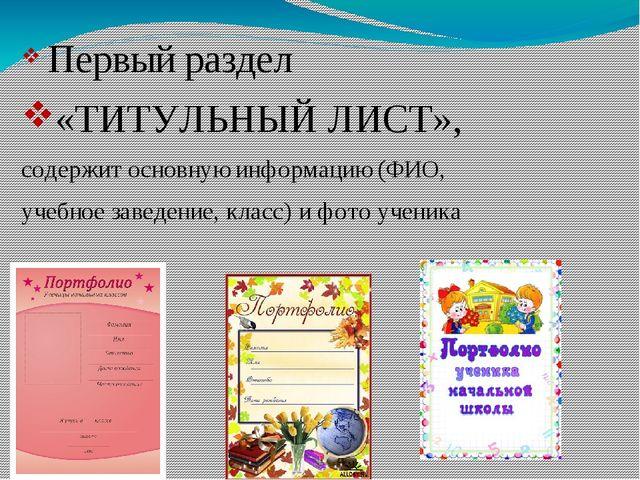 Первый раздел «ТИТУЛЬНЫЙ ЛИСТ», содержит основную информацию (ФИО, учебное з...