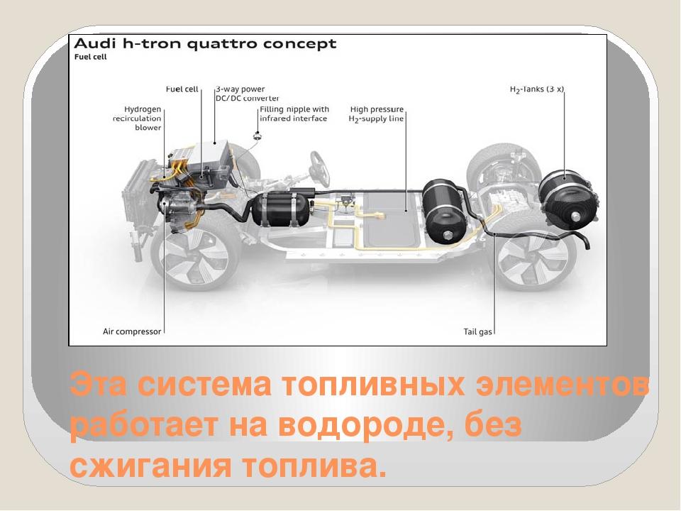 Эта система топливных элементов работает на водороде, без сжигания топлива.