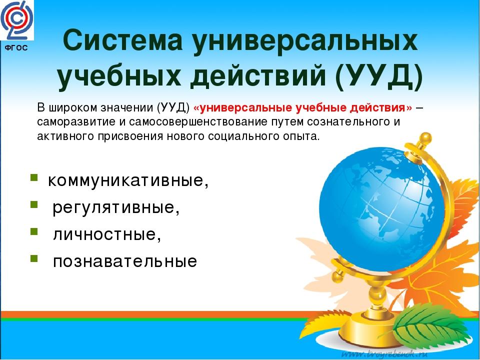 ФГОС Система универсальных учебных действий (УУД) коммуникативные, регулятив...
