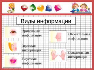 Виды информации Зрительная информация Вкусовая информация Звуковая информация
