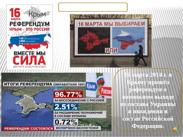 16 марта 2014 г. в Крыму прошёл референдум о возможном выходе из состава Укра...