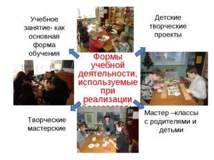 Формы учебной деятельности, используемые при реализации образовательной прогр