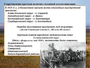 Сопротивление крестьян политике сплошной коллективизации В 1929-31 гг. в Каза