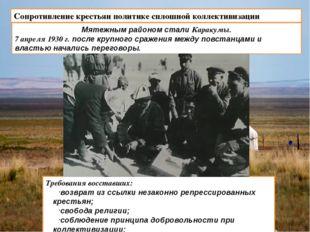 Сопротивление крестьян политике сплошной коллективизации Мятежным районом ста