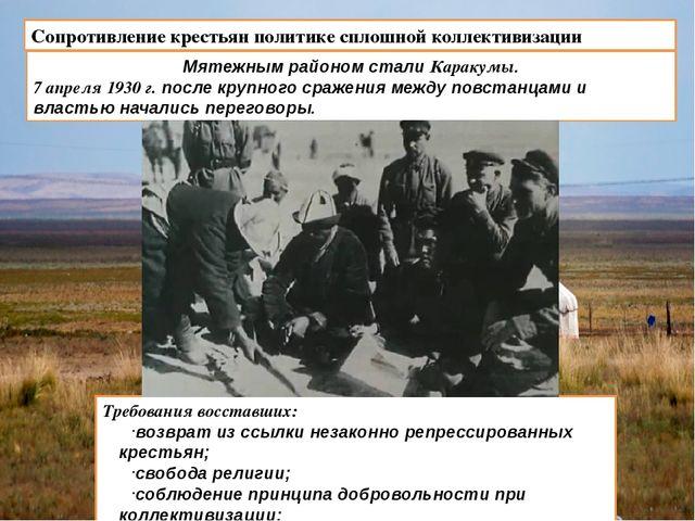 Сопротивление крестьян политике сплошной коллективизации Мятежным районом ста...