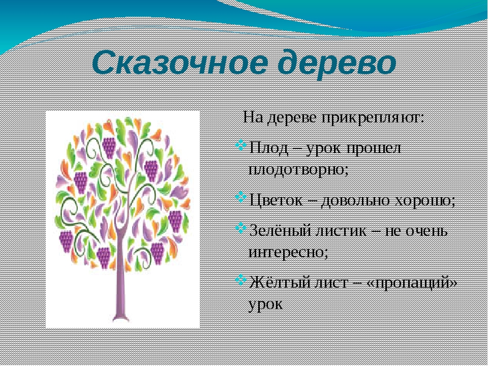Сказочное дерево На дереве прикрепляют: Плод – урок прошел плодотворно; Цвето...