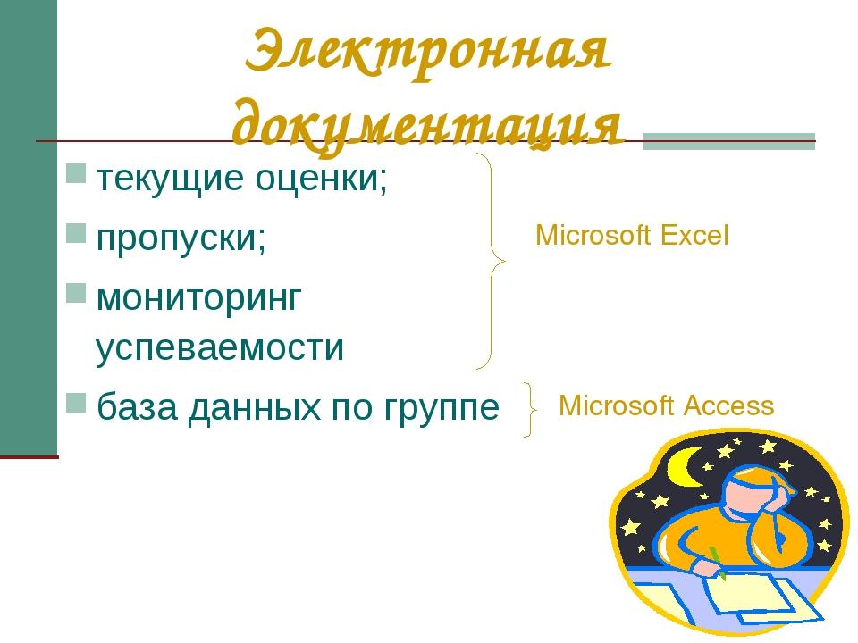 Электронная документация текущие оценки; пропуски; мониторинг успеваемости ба...