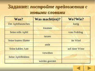 Задание: постройте предложения с новыми словами Was? Was macht(en)?Wo?Wie?