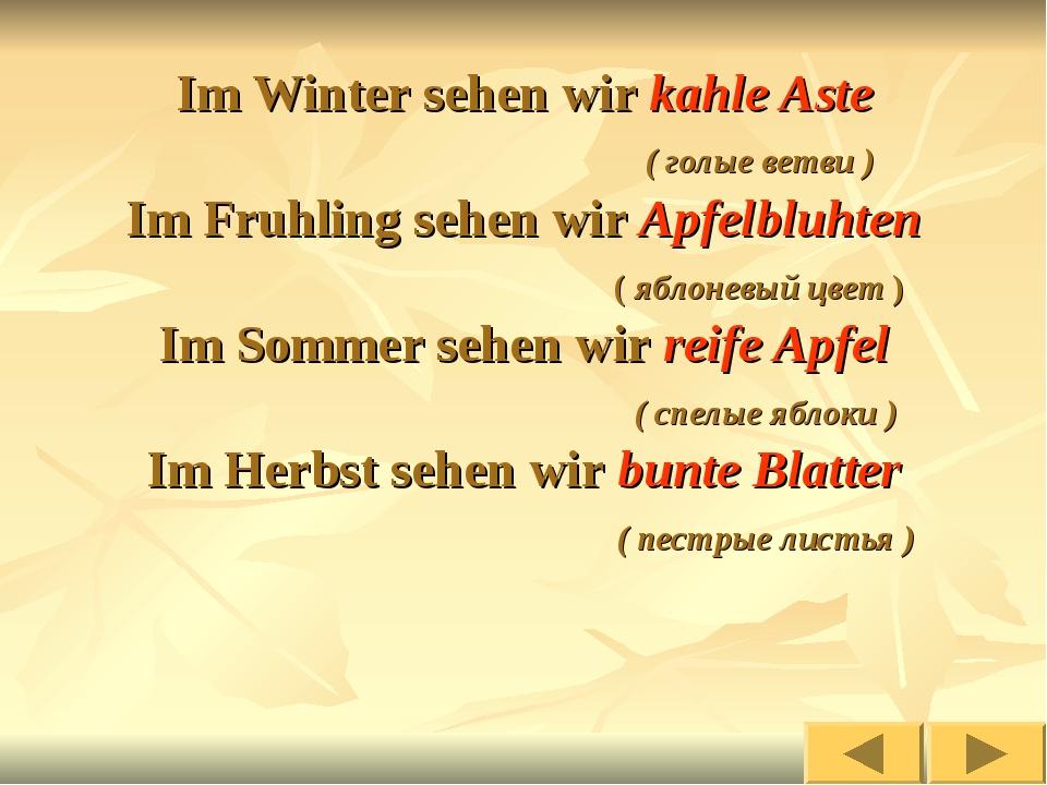 Im Winter sehen wir kahle Aste ( голые ветви ) Im Fruhling sehen wir Apfelblu...