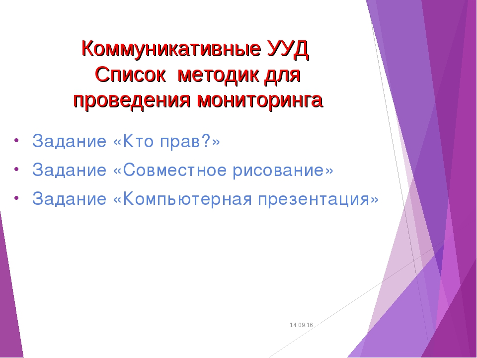 Коммуникативные УУД Списокметодик для проведения мониторинга Задание «Кто п...