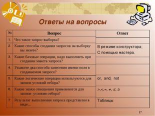 * Ответы на вопросы №Вопрос 1.Что такое запрос-выборка? 2.Какие способы со