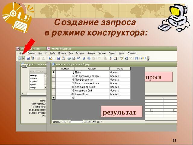 * Создание запроса в режиме конструктора: 4 шаг – отобразить таблицу запроса...
