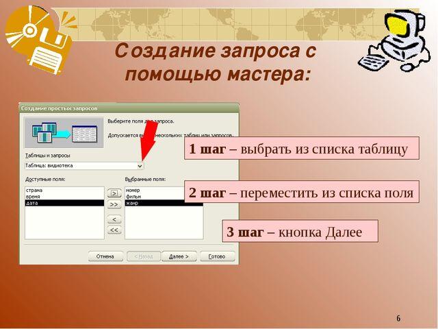 * Создание запроса с помощью мастера: 1 шаг – выбрать из списка таблицу 2 шаг...