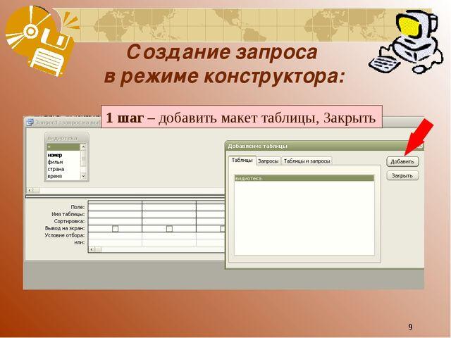 * Создание запроса в режиме конструктора: 1 шаг – добавить макет таблицы, Зак...