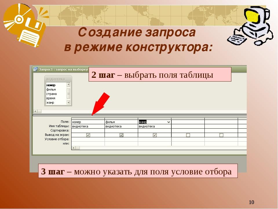 * Создание запроса в режиме конструктора: 2 шаг – выбрать поля таблицы 3 шаг...