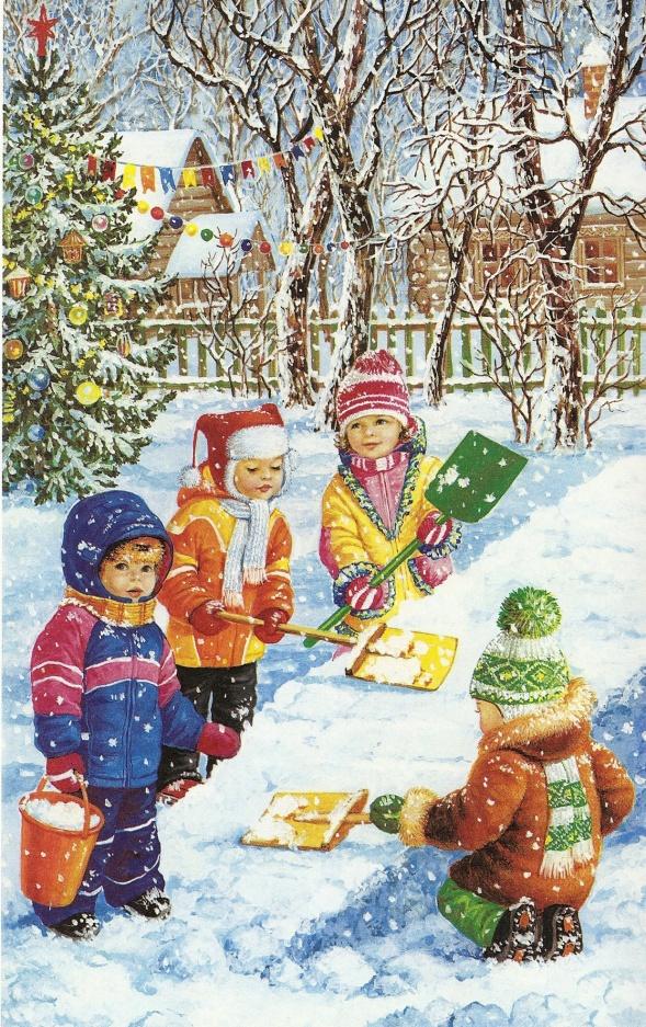 Картинки о зиме для детского сада, день строителя
