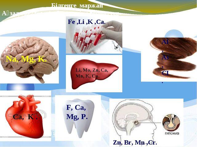 Білгенге маржан Ағзада кездесетін биогенді элементтер. Li, Mo, Zn, Ca, Mn, K...