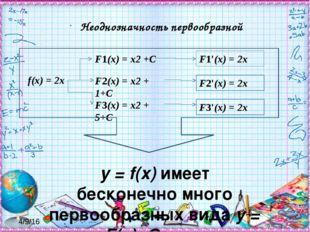 y = f(x) имеет бесконечно много первообразных вида y = F(x)+C, где C - произ