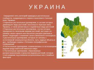 У К Р А И Н А Определяют пять категорий природных растительных сообществ, ну