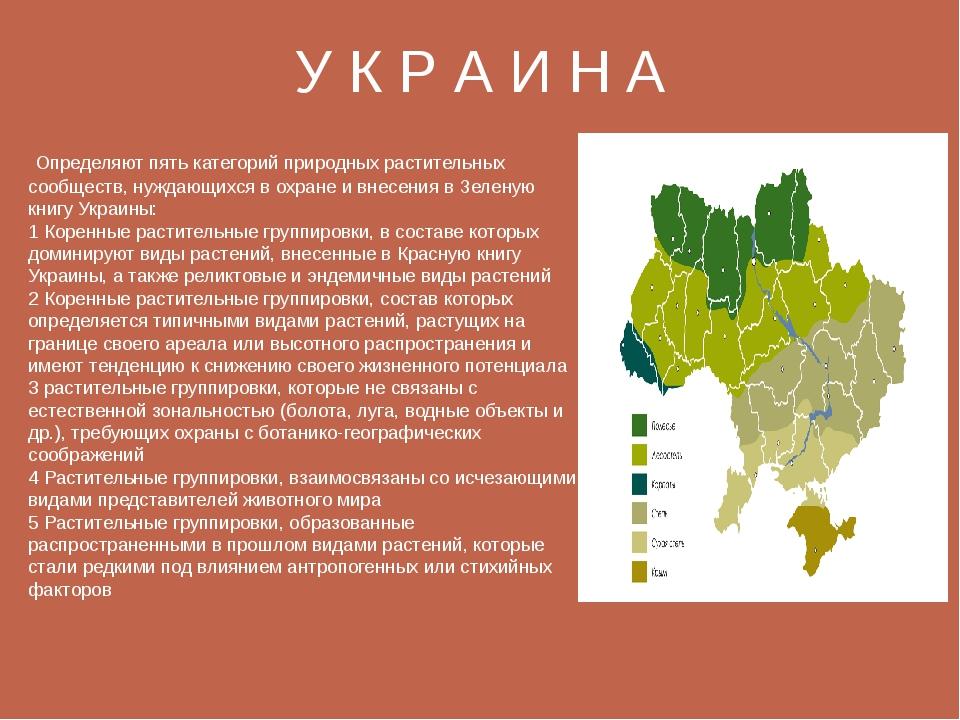 У К Р А И Н А Определяют пять категорий природных растительных сообществ, ну...