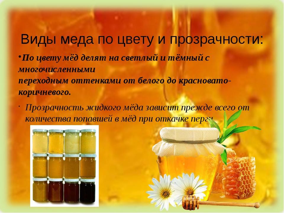 Виды меда по цвету и прозрачности: По цвету мёд делят на светлый и тёмный с м...