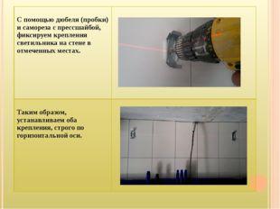 С помощью дюбеля (пробки) исаморезаспрессшайбой, фиксируем крепления светиль