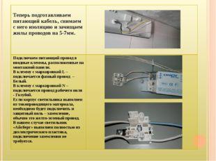 Теперь подготавливаем питающий кабель, снимаем с него изоляцию и зачищаем жи