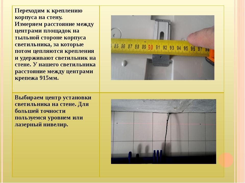 Переходим к креплению корпуса на стену. Измеряем расстояние между центрами пл...