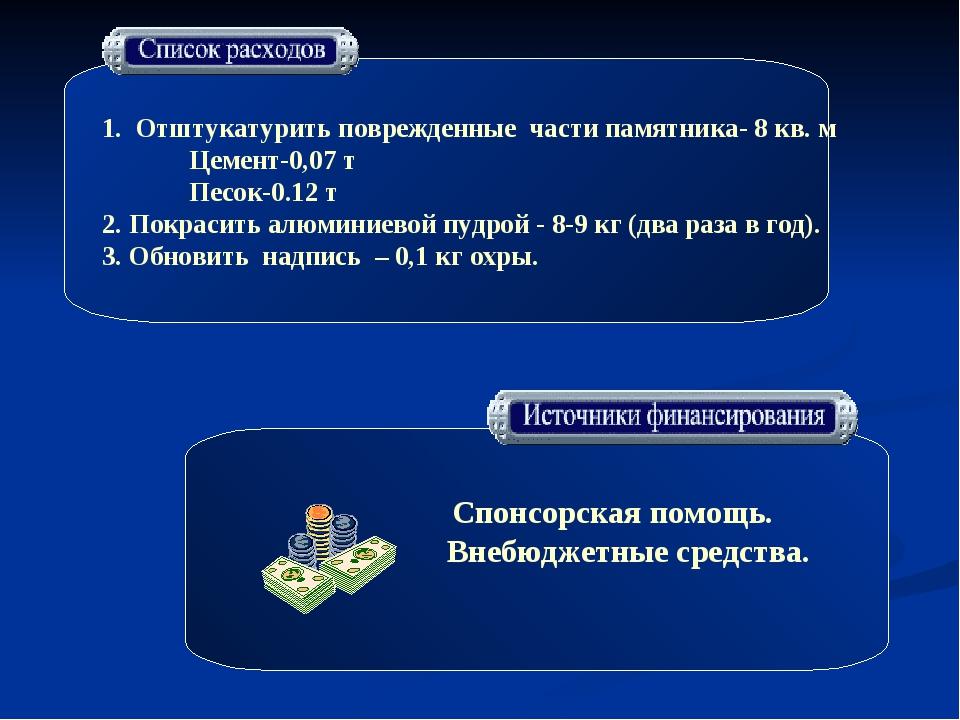 1. Отштукатурить поврежденные части памятника- 8 кв. м Цемент-0,07 т Песок-0...