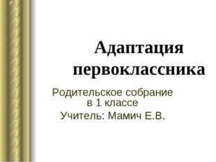 Адаптация первоклассника Родительское собрание в 1 классе Учитель: Мамич Е.В.