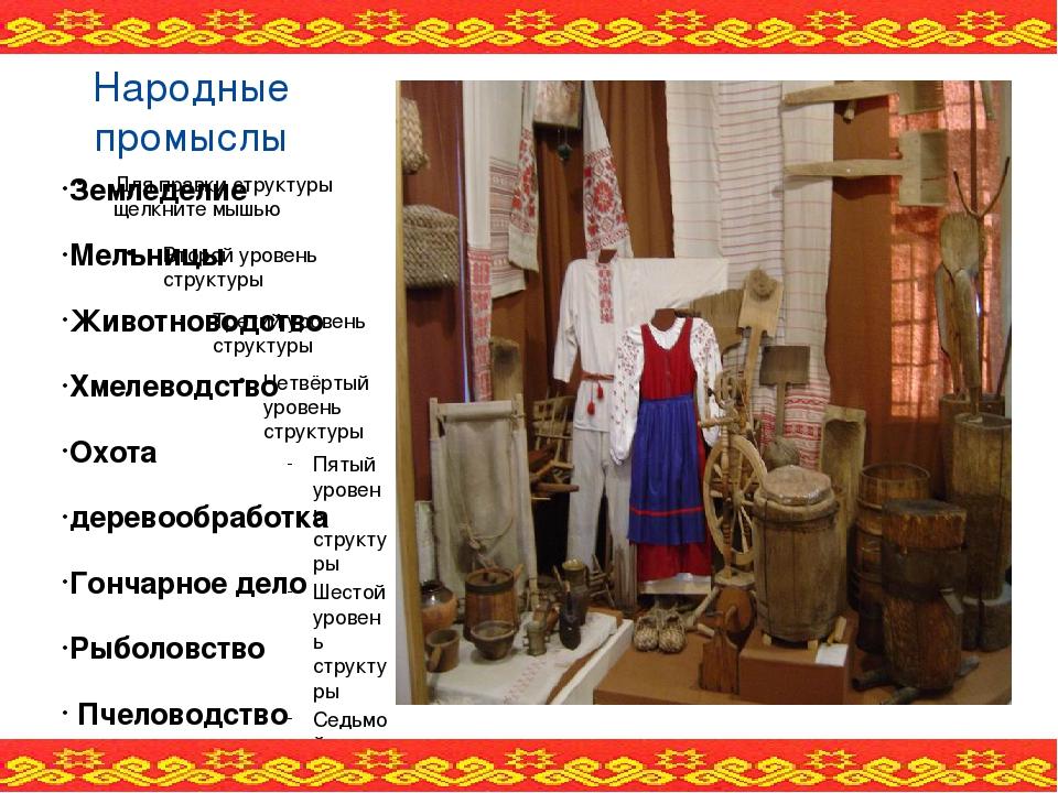 Народные промыслы Земледелие Мельницы Животноводство Хмелеводство Охота дерев...