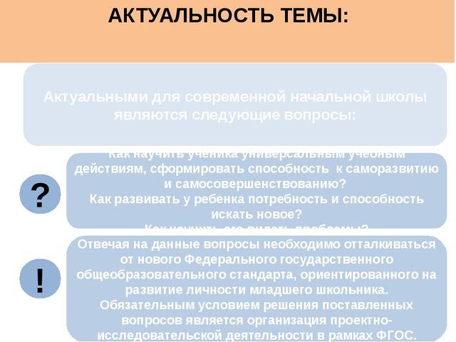 Актуальными для современной начальной школы являются следующие вопросы: АКТУ...