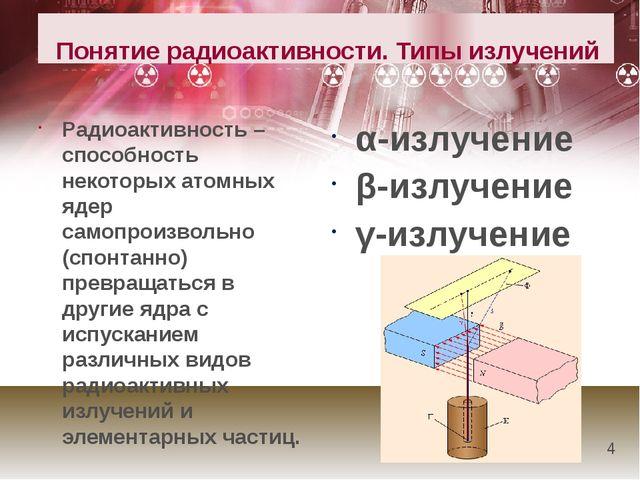 Понятие радиоактивности. Типы излучений α-излучение β-излучение γ-излучени...