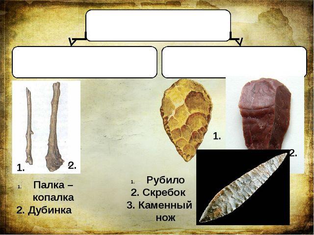Орудия труда древнего человека Из дерева Из камня Палка – копалка 2. Дубинка...