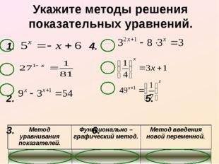 Укажите методы решения показательных уравнений. 1. 4. 2.  5.   3.