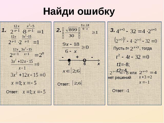 Найди ошибку 1. Ответ: 2. 3. 2 6 x + - - Ответ: Пусть t= , тогда t1=-8; t2=4...