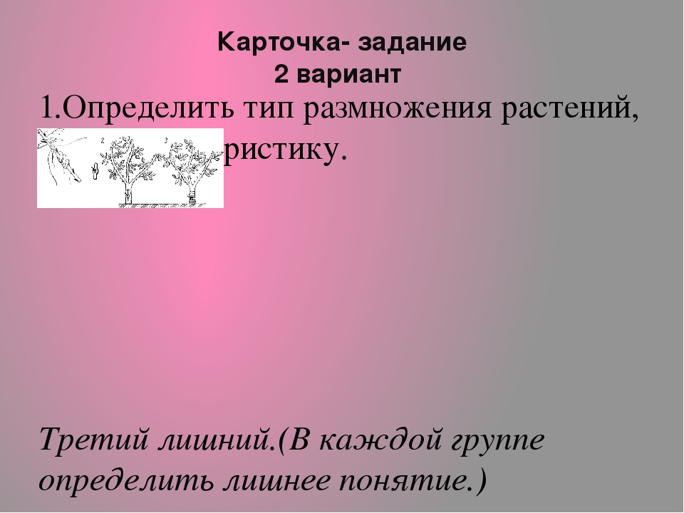 Карточка- задание 2 вариант 1.Определить тип размножения растений, дать харак...
