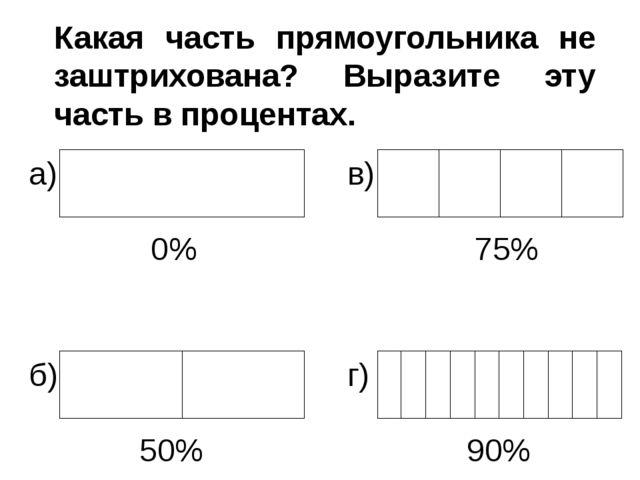 Какая часть прямоугольника не заштрихована? Выразите эту часть в процентах. 0...